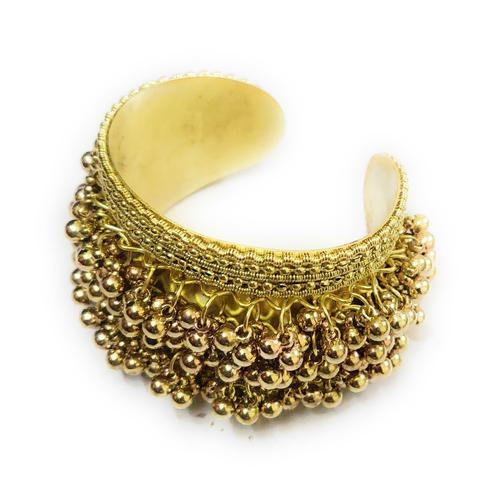 Zaffre Collections - Trendy Oxidised Gold Adjustable Ghungroo Cuff Bracelet For Women And Girls