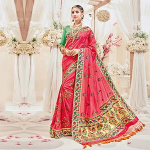 Attractive Pink Designer Wedding Saree