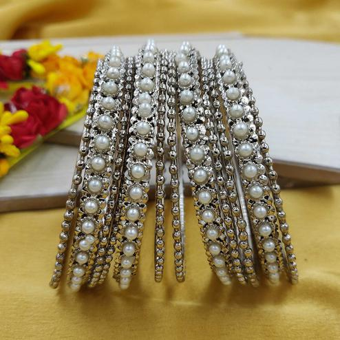 Zaffre Collections - Trending Silver Bangles Set For Women And Girls Pack Of 12 Bangles