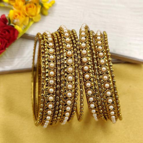 Zaffre Collections - Trending Gold Bangles Set For Women And Girls Pack Of 12 Bangles