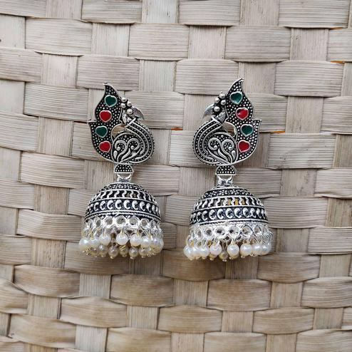 Zaffre Collections - Trendy Peacock Shape Oxidised Silver Jhumki Earring For Women And Girls