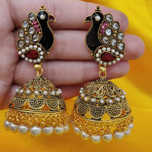 Zaffre Collections - Latest Peacock Shape Big Gold Meena Latkan Jhumki Earrings For Women And Girls
