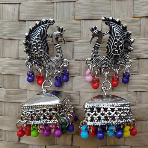 Zaffre Collections - Latest Oxidsed Silver Peacock Shape Jhumki Earrings With Multi Color Latkan For Women And Girls