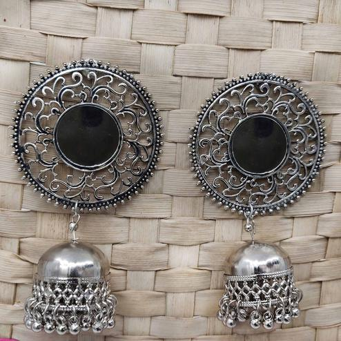 Zaffre Collections - Oxidised Silver Jhumki Earrings With Mirror For Women And Girls