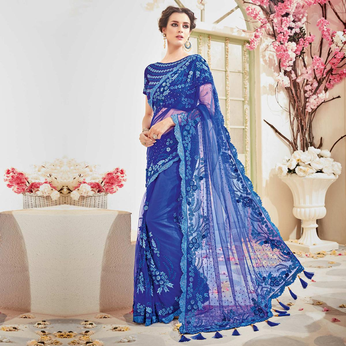 Marvellous Blue Designer Wedding Saree