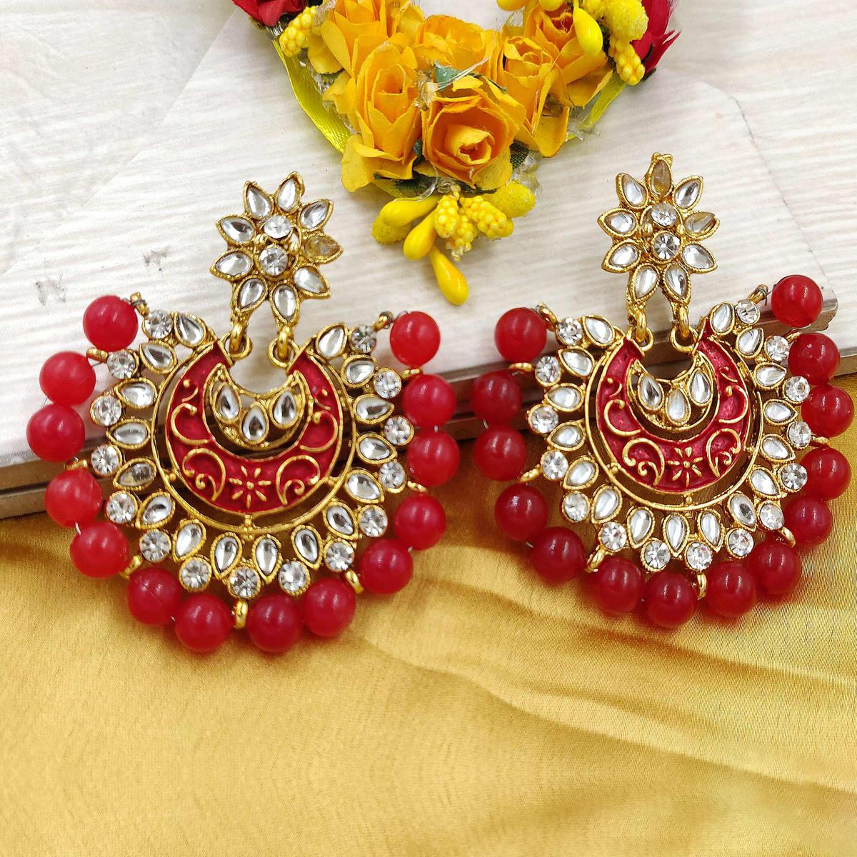 Zaffre Collections - Trending Maroon Chandbali Earrings For Women And Girls