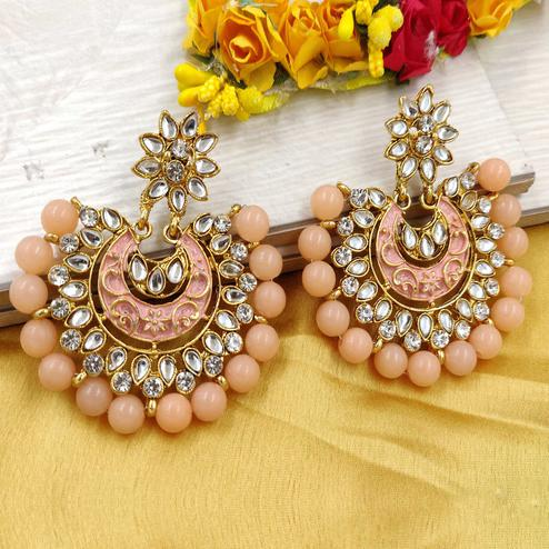 Zaffre Collections - Trending Peach Chandbali Earrings For Women And Girls