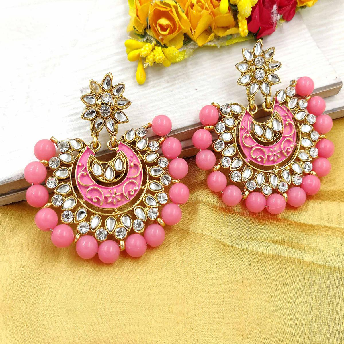 Zaffre Collections - Trending Baby Pink Chandbali Earrings For Women And Girls