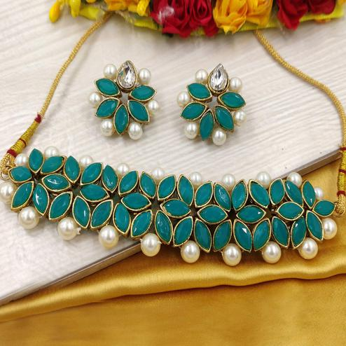 Zaffre Collections - Green Crystal Flower Choker With Earrings For Women & Girls