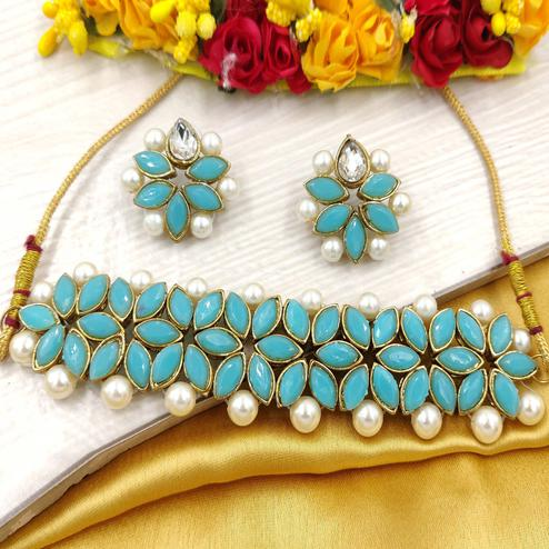 Zaffre Collections - Sky Blue Crystal Flower Choker With Earrings For Women & Girls