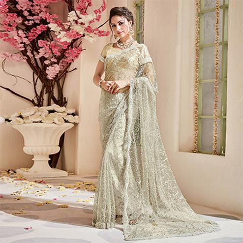 Arresting Cream Designer Wedding Saree