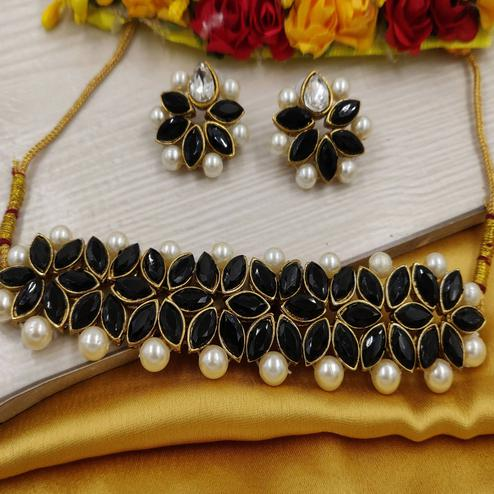 Zaffre Collections - Black Crystal Flower Choker With Earrings For Women & Girls