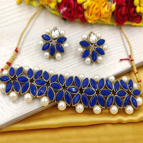 Zaffre Collections - Navy Blue Crystal Flower Choker With Earrings For Women & Girls