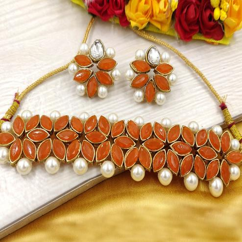 Zaffre Collections - Orange Crystal Flower Choker With Earrings For Women & Girls