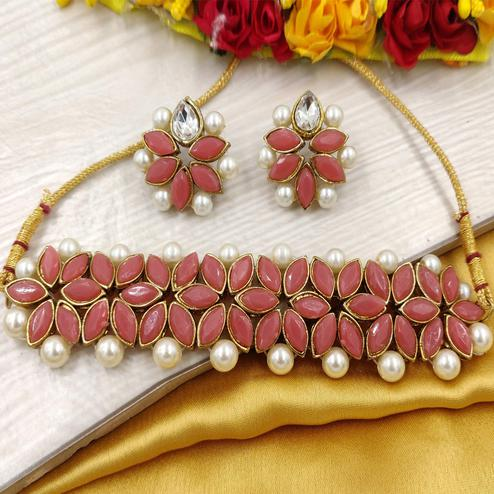 Zaffre Collections - Pink Crystal Flower Choker With Earrings For Women & Girls