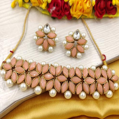 Zaffre Collections - Peach Crystal Flower Choker With Earrings For Women & Girls