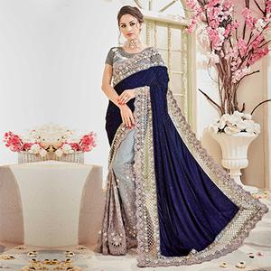 Royal Blue - Gray Designer Wedding Saree