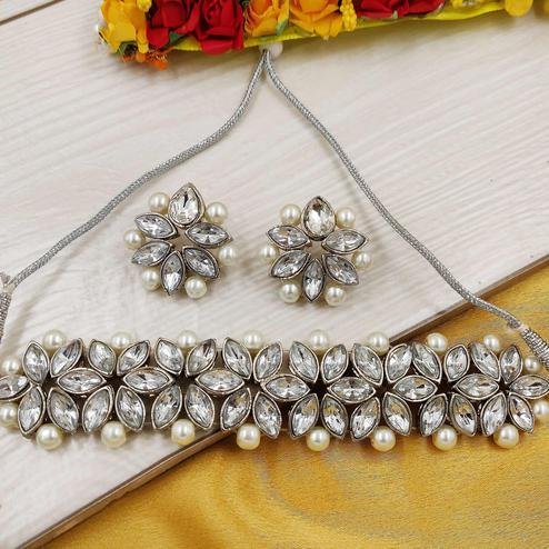 Zaffre Collections - Trendy White Crystal Silver Plated Flower Choker Necklace Set For Women And Girls