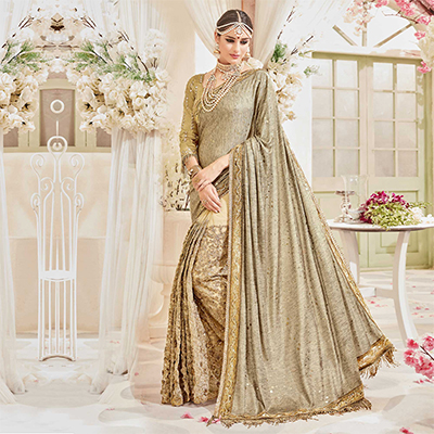Spectacular Golden Designer Wedding Saree
