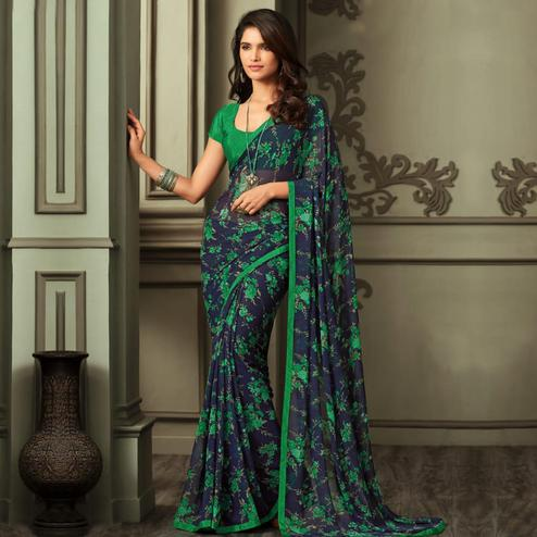 Arresting Navy Blue-Green Colored Casual Wear Printed Georgette Saree