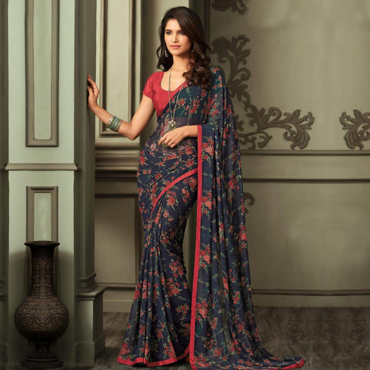 Desirable Navy Blue-Red Colored Casual Wear Printed Georgette Saree