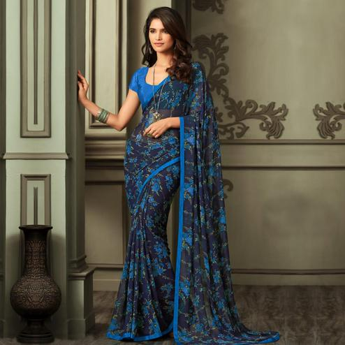 Exotic Blue Colored Casual Wear Printed Georgette Saree