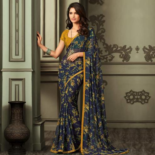 Elegant Navy Blue-Yellow Colored Casual Wear Printed Georgette Saree