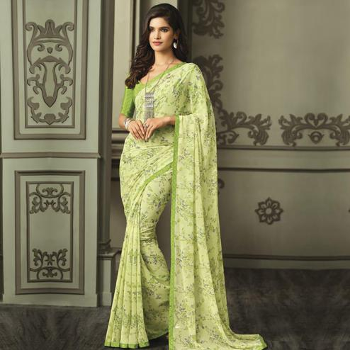 Opulent Green Colored Casual Wear Printed Georgette Saree
