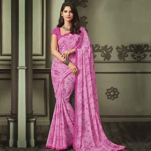 Energetic Pink Colored Casual Wear Printed Georgette Saree