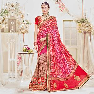 Glorious Pink-Red Designer Wedding Saree