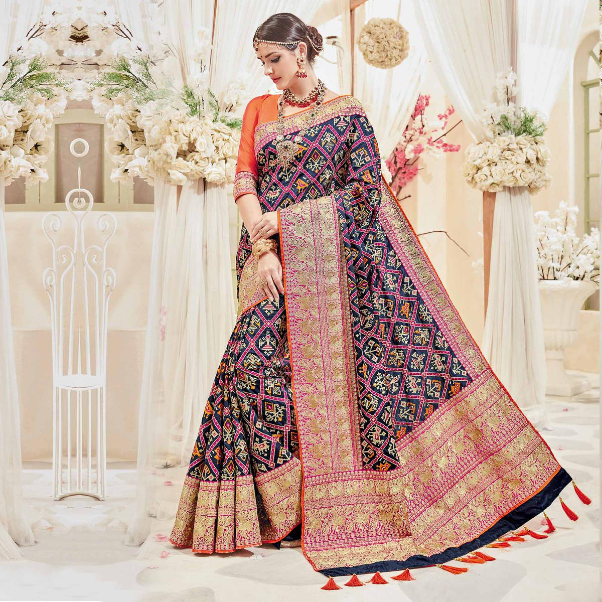 Splendid Blue Designer Wedding Saree