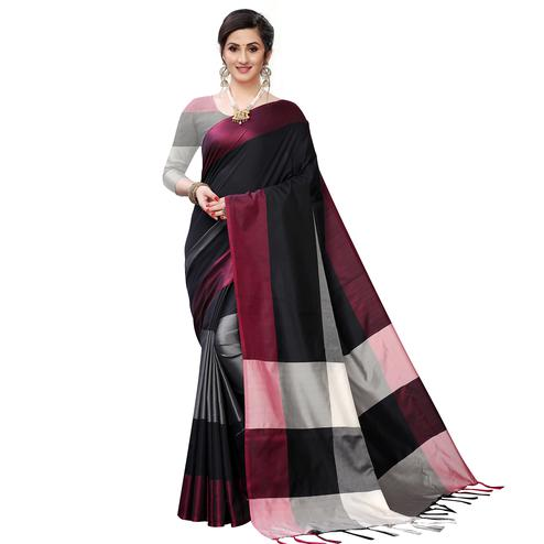 Gorgeous Black Colored Festive Wear Woven Sana Silk Saree