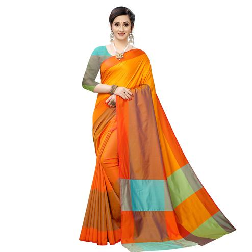 Ideal Mustard Yellow Colored Festive Wear Woven Sana Silk Saree