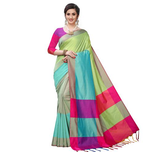 Lovely Parrot Green Colored Festive Wear Woven Sana Silk Saree