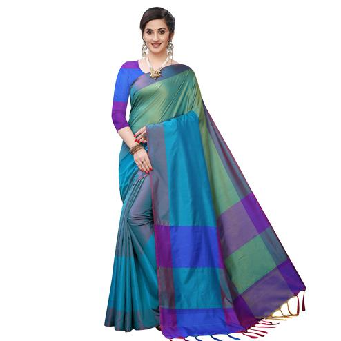 Impressive Rama Green Colored Festive Wear Woven Sana Silk Saree