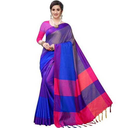 Mesmerising Rama Blue Colored Festive Wear Woven Sana Silk Saree