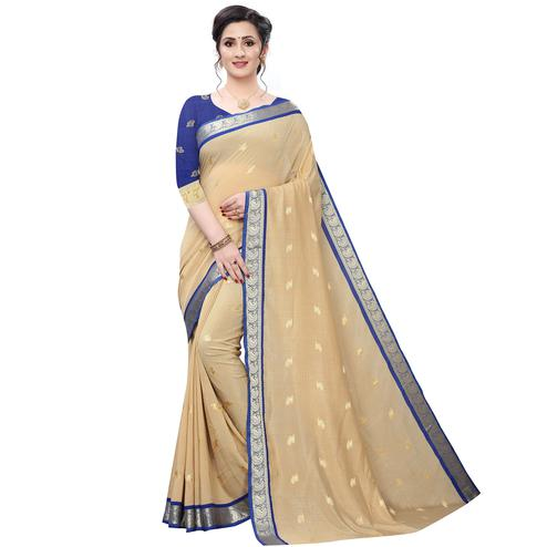Intricate Beige Colored Festive Wear Woven Vichitra Silk Saree