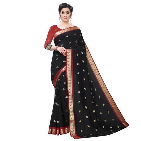 Arresting Black Colored Festive Wear Woven Vichitra Silk Saree