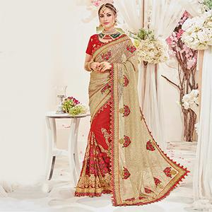 Classy Golden-Red Designer Wedding Saree