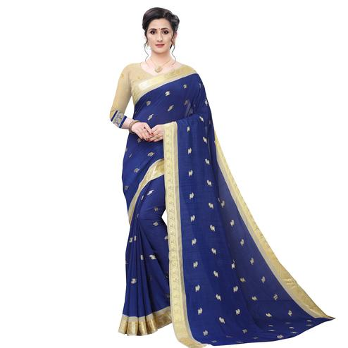Sophisticated Navy Blue Colored Festive Wear Woven Vichitra Silk Saree