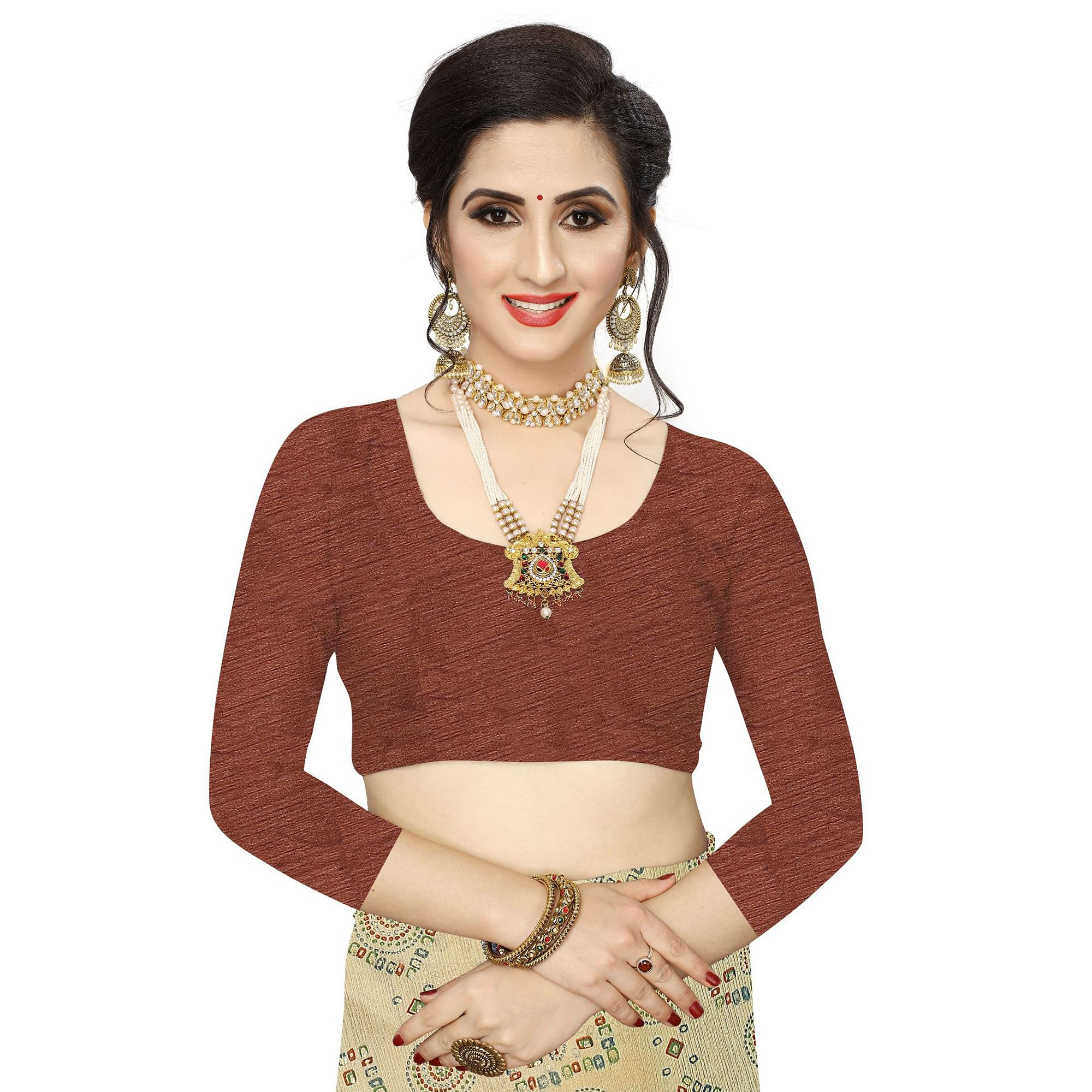 Blooming Beige Colored Casual Wear Printed Lycra Blend Saree