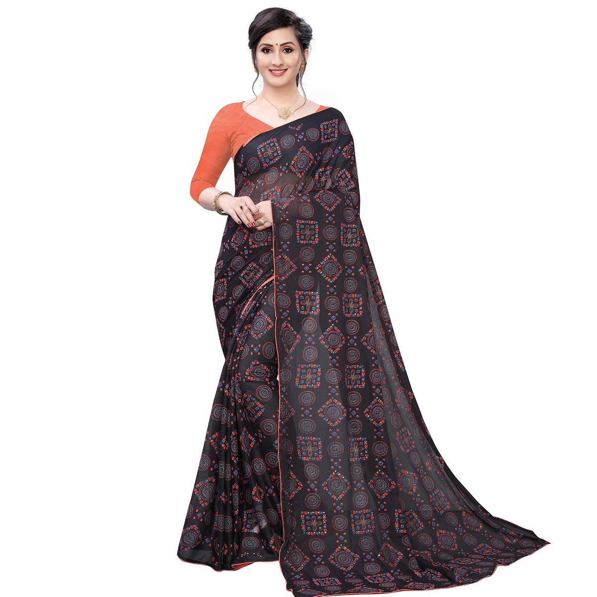 Charming Black Colored Casual Wear Printed Lycra Blend Saree