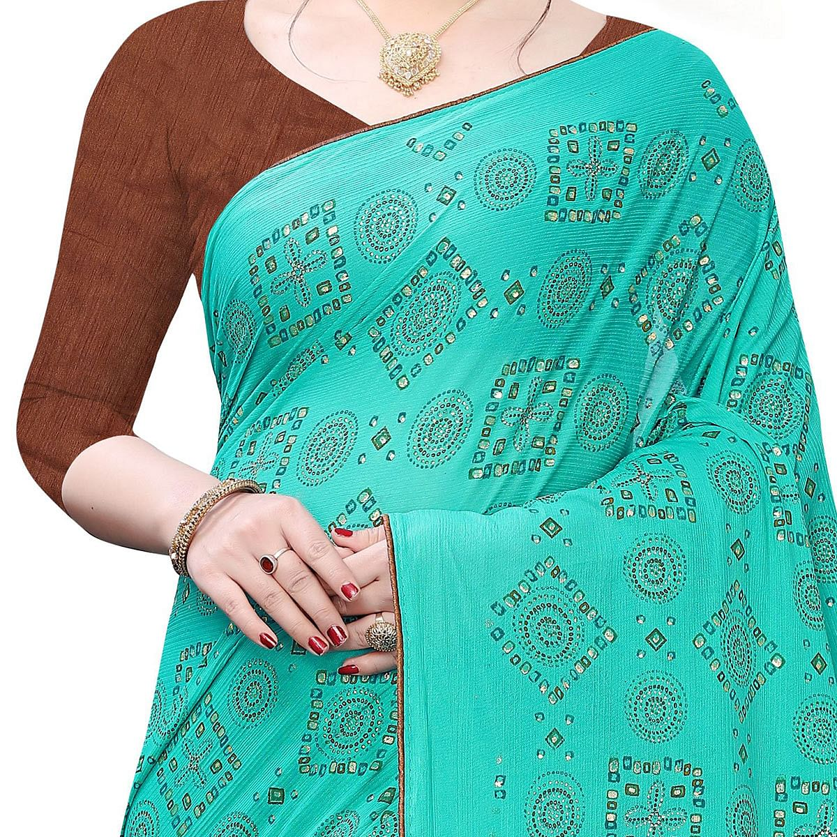 Jazzy Sea Green Colored Casual Wear Printed Lycra Blend Saree