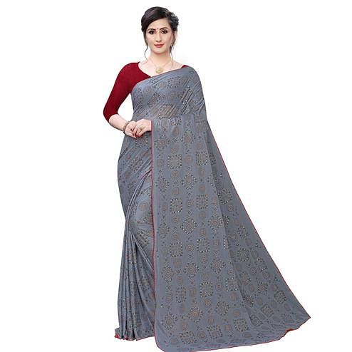 Delightful Grey Colored Casual Wear Printed Lycra Blend Saree