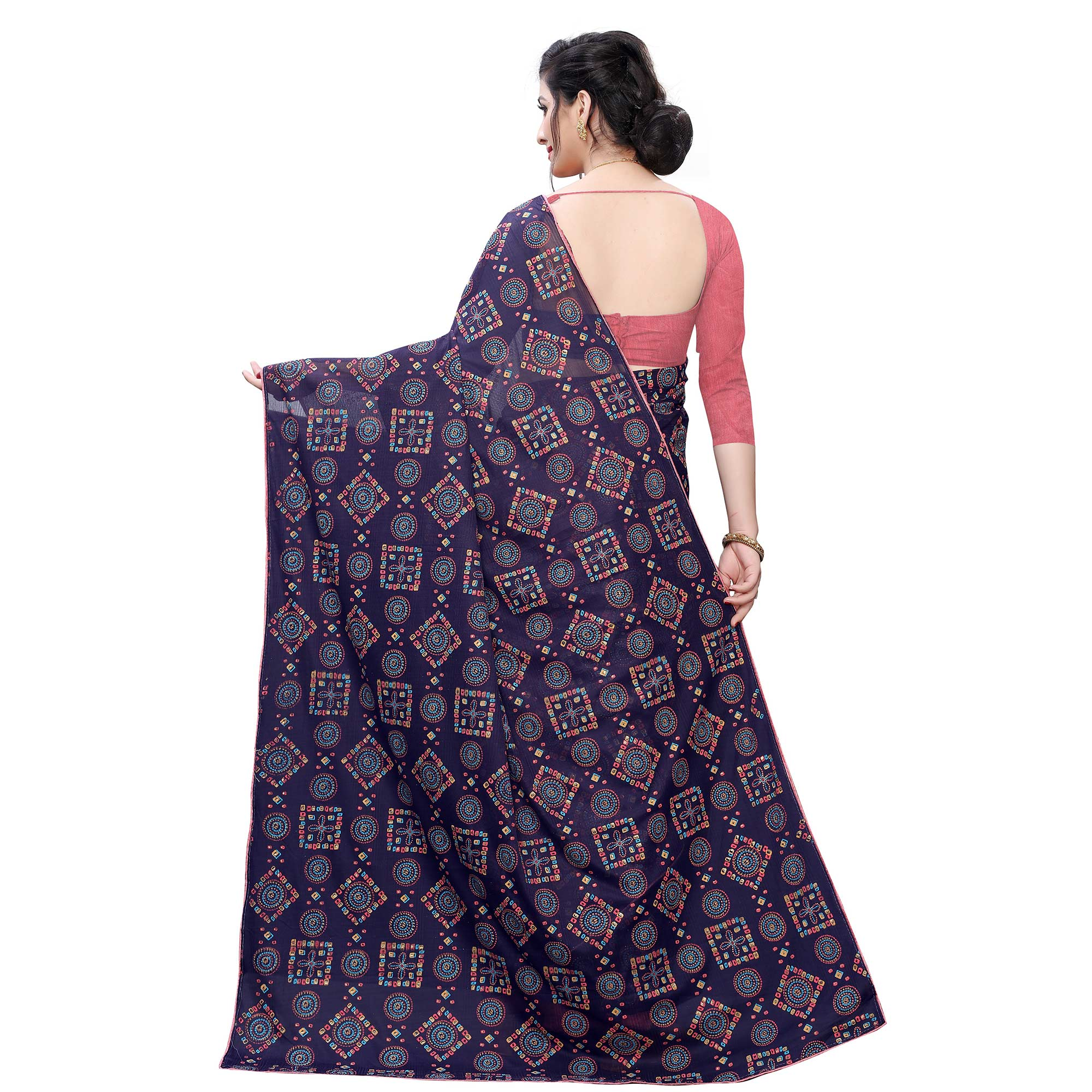 Engrossing Navy Blue Colored Casual Wear Printed Lycra Blend Saree