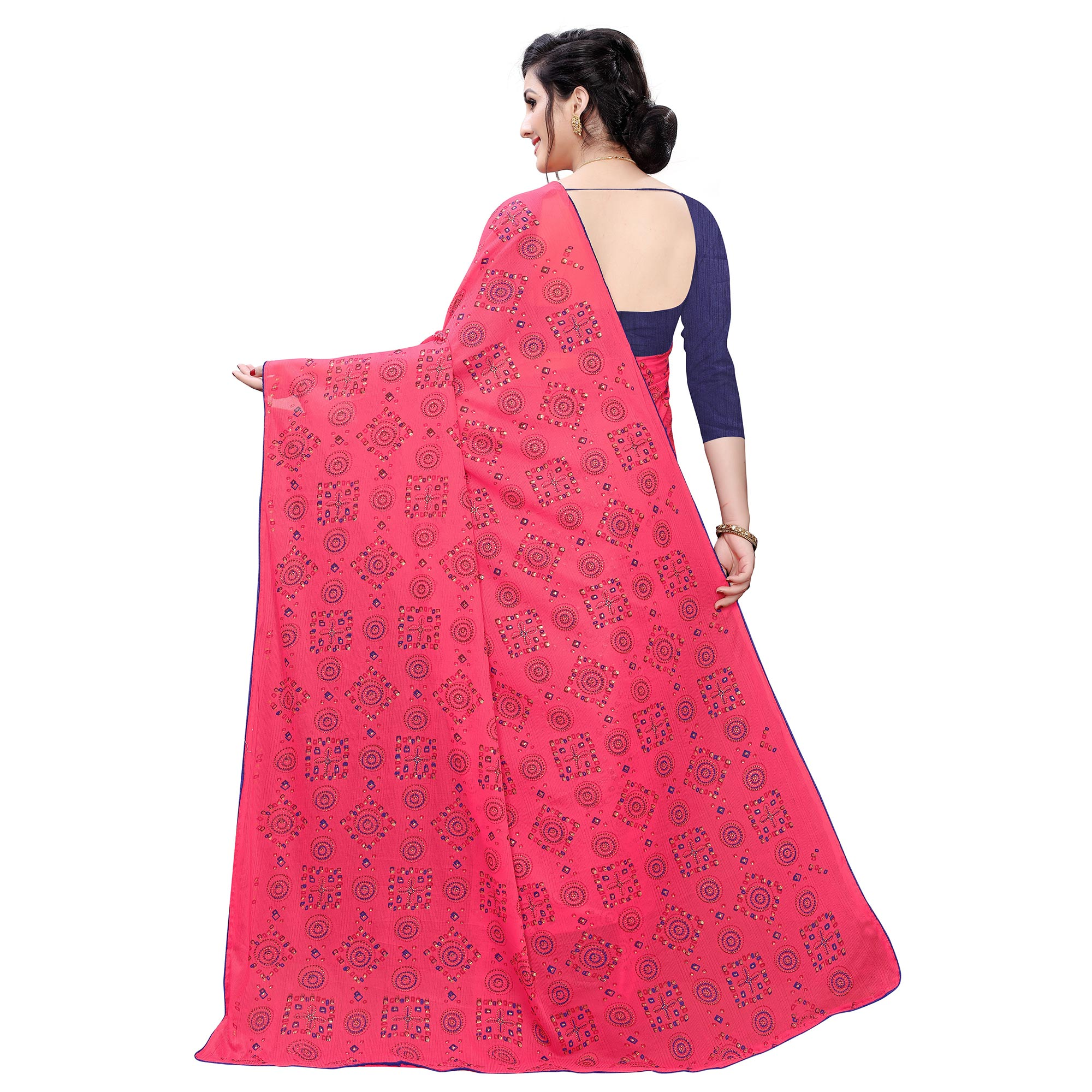 Captivating Pink Colored Casual Wear Printed Lycra Blend Saree