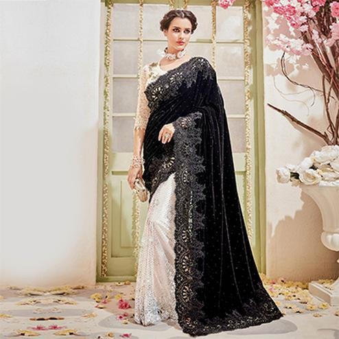 Beautiful Black - Beige Designer Wedding Saree