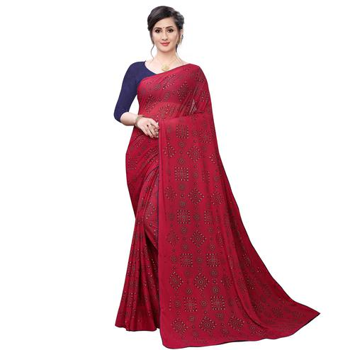 Innovative Red Colored Casual Wear Printed Lycra Blend Saree