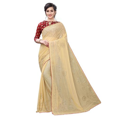 Pleasance Beige Colored Partywear Embelished Lycra Blend Saree