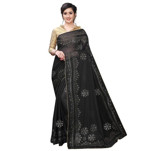 Breathtaking Black Colored Partywear Embelished Lycra Blend Saree